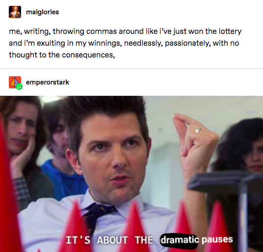 """A Photoshopped screenshot of Ben Wyatt saying """"It's about the dramatic pauses."""""""