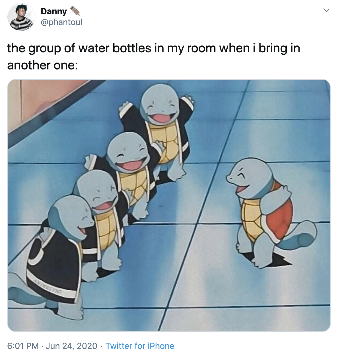 """A tweet with the text """"the group of water bottles in my room when I bring in another one"""" and a picture of a Squirtle being greeted by four other Squirtles."""