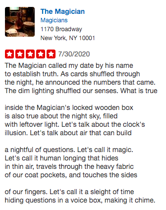 A screenshot of Cindy Tran's Yelp review for The Magician