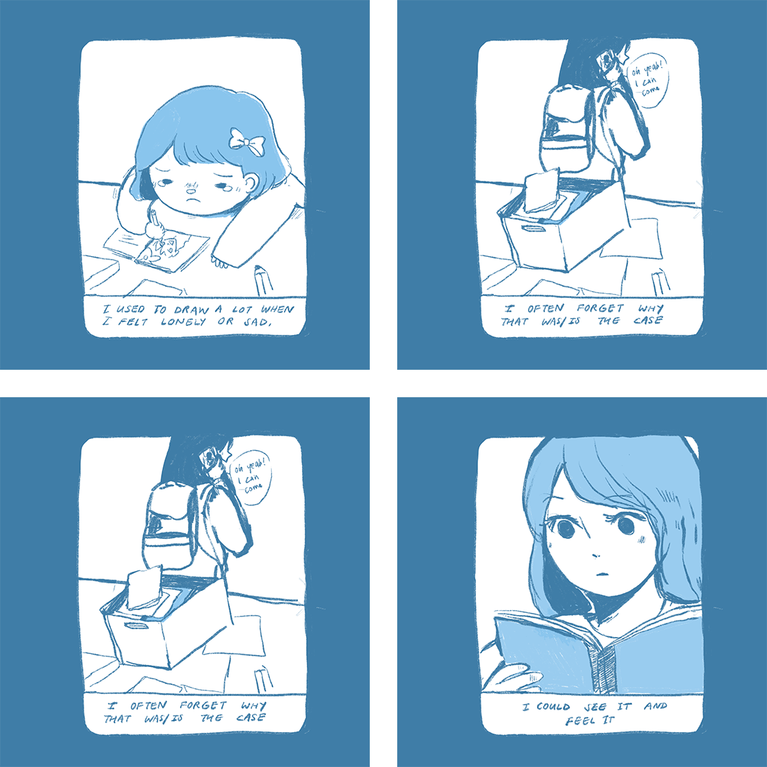 """Four panels of a comic by Gu. The text: """"I used to draw a lot when I felt lonely or sad. I often forget why that was/is the case. I could see it and feel it."""""""