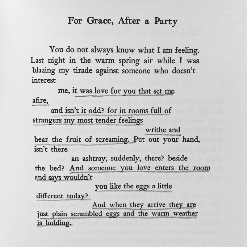 """A picture of Frank O'Hara's poem """"For Grace, After a Party"""""""