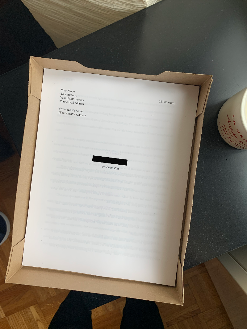 A picture of printed pages in a FedEx box. The top page is the title page of a novel draft.