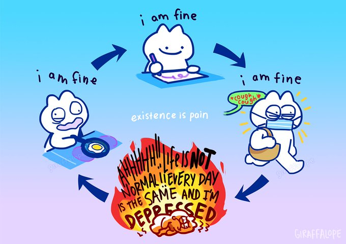 """A cartoon illustrating a cartoon's deteriorating mental cycle, saying """"existence is pain."""""""
