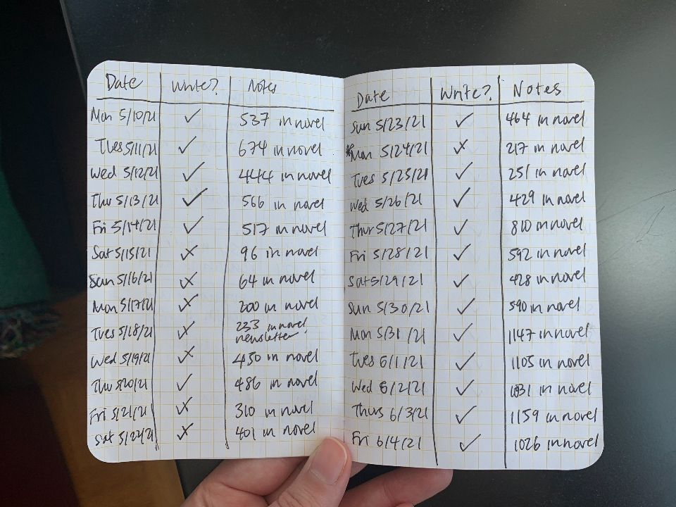 A small Field Notes notebook noting each day I wrote with a checkmark and the word count.